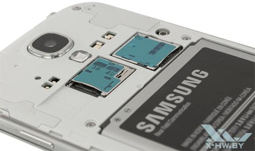 Разъемы для SIM-карты и карты памяти на Samsung Galaxy S4