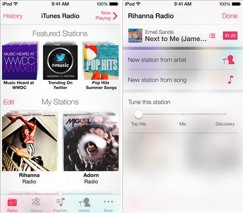 iTunes Radio в iOS 7. Рис. 1