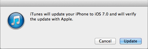 Подтверждение на обновление iOS 7