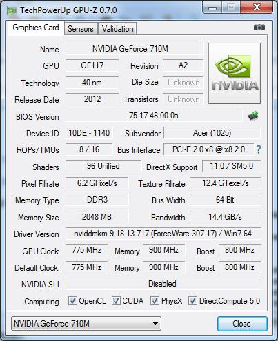 Видеокарта Acer Aspire E1-531G