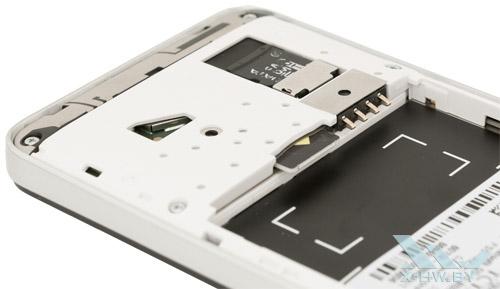 Слот для карты памяти и microSIM на Alcatel One Touch Star