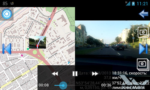 Видеорегистратор. Карты Google