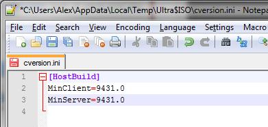 Изменение файла cversion.ini из ISO-образа Windows 8.1