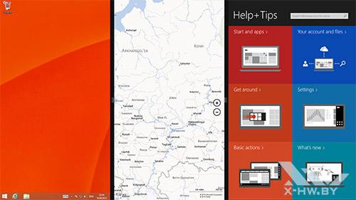 Snap на три приложения в Windows 8.1