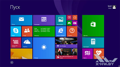Стартовый экран Windows 8.1