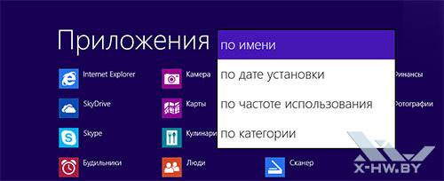 Сортировка приложений Windows 8.1