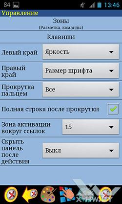 ZXReader. Настройки: управление. Рис. 6