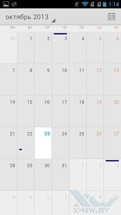 Календарь на Highscreen Boost II