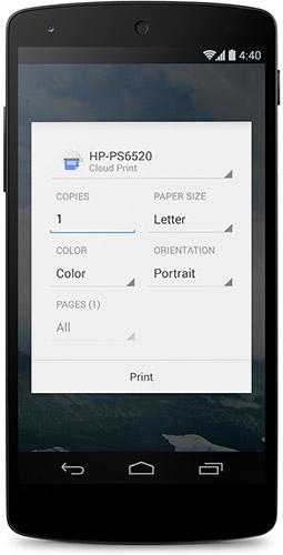 Печать в Android 4.4. Рис. 1