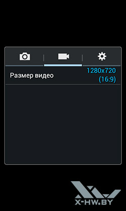 Параметры съемки видео камерой Samsung Galaxy Grand Neo