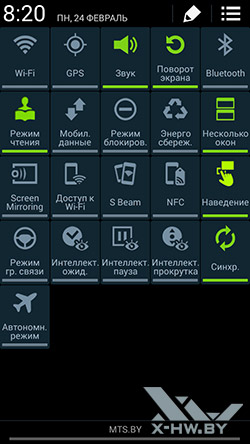 Панель параметров Samsung Galaxy Note 3 Neo