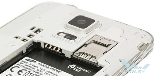 Разъемы microSIM и microSD на Samsung Galaxy S5