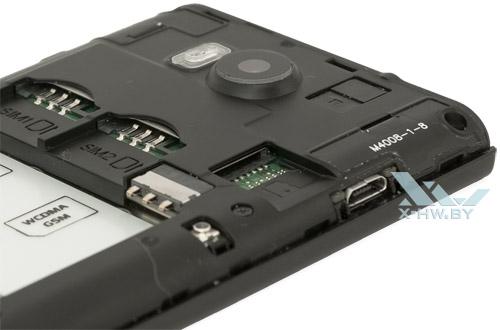 Разъемы для SIM-карт и карт microSD на Highscreen Zera F