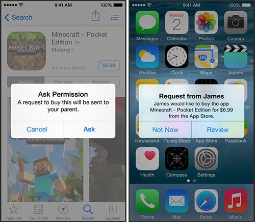 Семейный доступ в iOS 8. Рис. 5