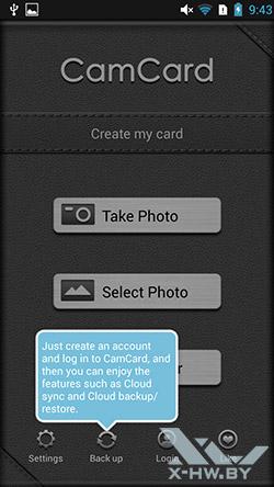 CamCard на Lenovo P780. Рис. 1
