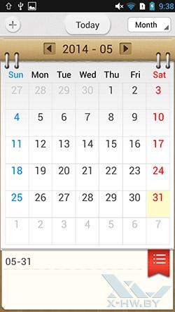 Календарь на Lenovo P780