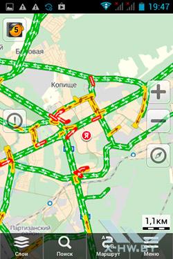 Яндекс.Карты на Haier W701. Рис. 1