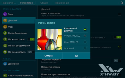 Параметры экрана Samsung Galaxy Tab S 10.5