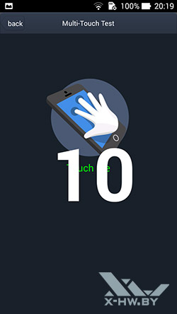 Число касаний, распознаваемых экраном ASUS Zenfone 5