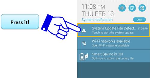 Уведомление о наличии обновления для ASUS Zenfone 5