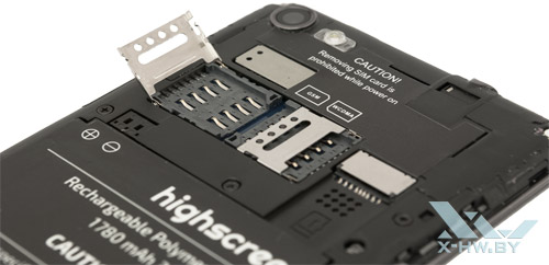 Разъемы для SIM-карт и microSD на Highscreen Omega Prime S