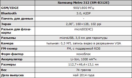Характеристики Samsung SM-B312E