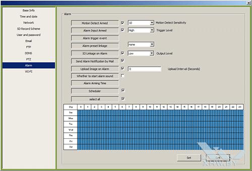 Параметры тревожных уведомлений камеры Zodiak IP909IW