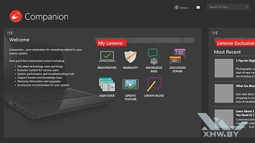 Приложение Lenovo Companion на Lenovo Flex 2