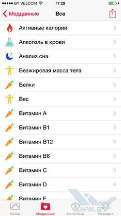 Приложение Здоровье на Apple iPhone 6. Рис. 3