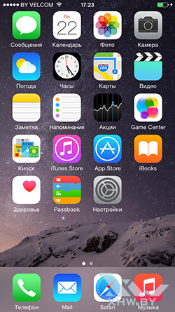 Рабочий стол Apple iPhone 6. Рис. 1