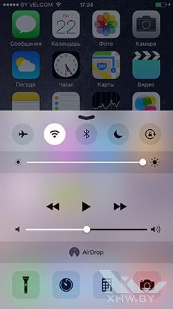 Панель настроек на Apple iPhone 6
