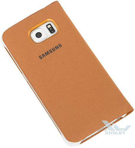Оранжевый Flip Wallet для Galaxy S6 edge. Вид сзади