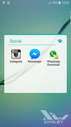 Социальные приложения на Samsung Galaxy S6 edge