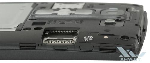 Разъемы для SIM-карты и карты microSD на LG Magna