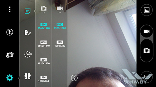 Параметры лицевой камеры LG Magna