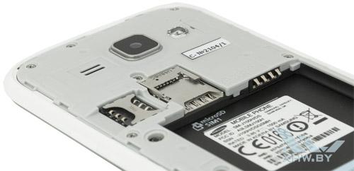 Разъемы для SIM-карт и microSD на Samsung Galaxy J1