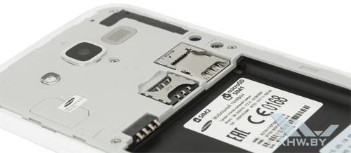 Отсеки для карточек на Samsung Galaxy J5