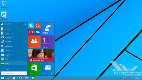Меню Пуск в первой сборке Windows 10