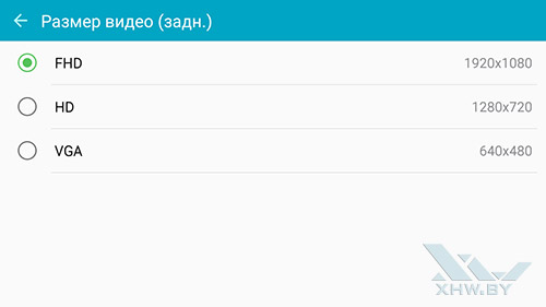 Разрешение видео камеры Samsung Galaxy J7