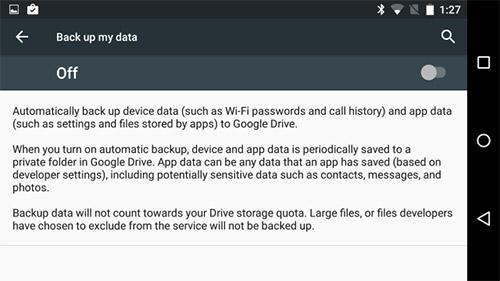 Резервное копирование Android 6.0