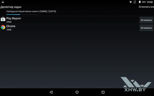 Диспетчер задач Lenovo Yoga Tab 3 8.0