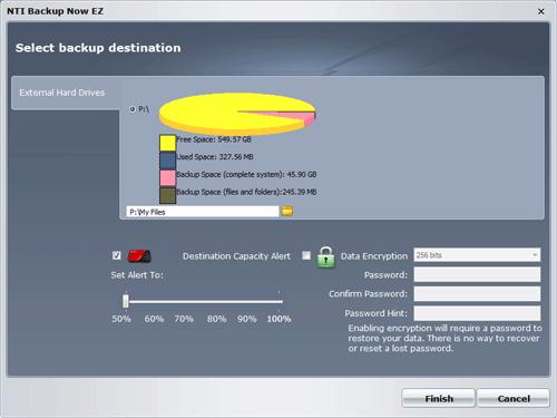 Параметры места назначения для резервного копирования в NTI Backup Now EZ