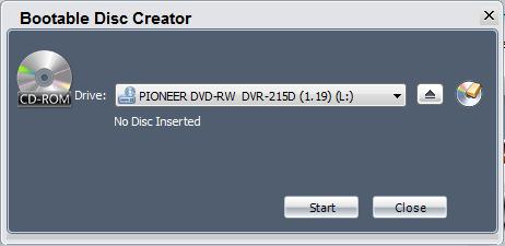 Окно создания загрузочного диска NTI Backup Now EZ