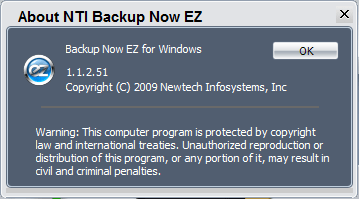 Окно About программы NTI Backup Now EZ