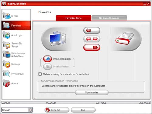 Параметры резервного копирования электронной почты закладок браузеров в StoreJet elite