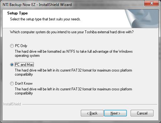 Выбор файловой системы жесткого диска при установке NTI Backup Now EZ