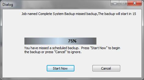 Запрос на резервное копирование данных при первом запуске NTI Backup Now EZ