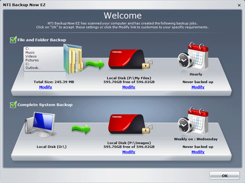 Главное окно NTI Backup Now EZ