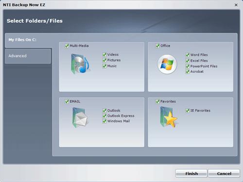 Выбор типов данных для резервного копирования в NTI Backup Now EZ