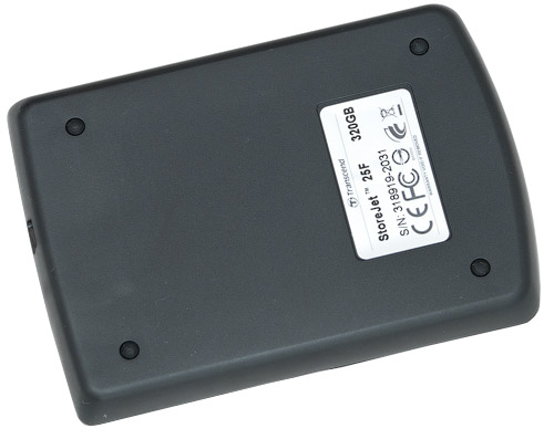 Вид снизу. Transcend StoreJet 25F 320 Гбайт (TS320GSJ25F)